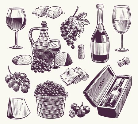 Sketch wine. Winemaking, classical alcoholic drink. Wood wine barrel, bottle and wineglasses, grape vine vintage winery elements vector monochrome alcohol beverage engraved set