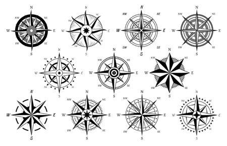 Brújula vintage. Brújulas antiguas Windrose símbolos de navegación de crucero náutico, viajes por mar navegación marina mapa elemento aislado vector cartografía descubrimiento iconos conjunto