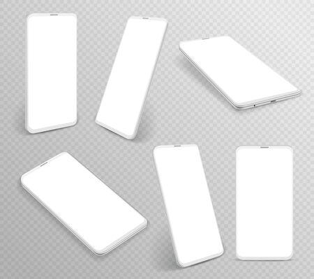 Smartphone bianco. Cellulare 3d realistico in diverse angolazioni, modelli di dispositivi moderni per telefoni cellulari vuoti senza cornice, prototipi di celle in prospettiva laterale vettoriale Vettoriali