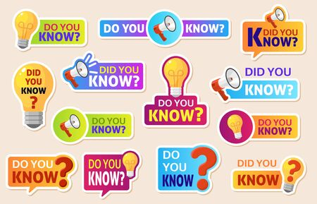 Did you know. Speech bubbles with question mark for social media. Information labels for web post. Discussion marketing vector funny typography logo labels