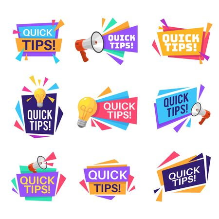 Quick tip labels. Helpful tricks and advice blog post badges with idea light bulb and megaphone symbols and text, reminders sticker isolated vector set Illustration