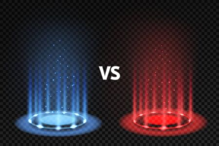Vs. Versus battle glowing podiums for fighters matching, blue and red circular glow. Mma and boxing challenge, competition vector effects rotating rays concept Reklamní fotografie - 134851276