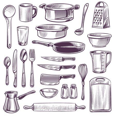 Küchenutensilien. Skizzieren Sie Kochwerkzeuge. Pfanne, Messer und Gabel, Löffel und Reibe, Tasse und Glas, Schneidebrett Handzeichnung Vintage Vektor Geschirr skizziert Set Vektorgrafik