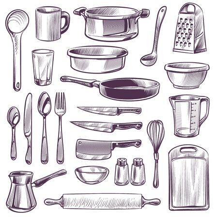 Kitchen utensils. Sketch cooking tools. Pan, knife and fork, spoon and grater, cup and glass, cutting board hand drawing vintage vector kitchenware sketched set 向量圖像