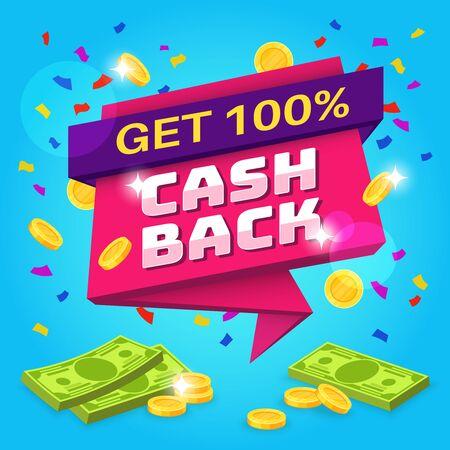 Cashback concept. Money refund label, retail guarantee offers. Online return money from purchases finance savings reward vector business sticker flyer