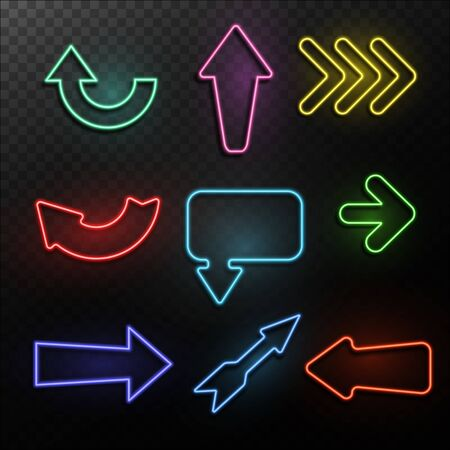 Neon arrows. Bright light direction arrow frames. Casino, night club and cinema glowing outside signs, vintage lighting retro symbols vector isolated elements