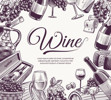 Sketch wine background. Celebration wine bottle and wineglasses grape and cheese food festival, restaurant menu, brochure vector drinks ink group delicious detail art template