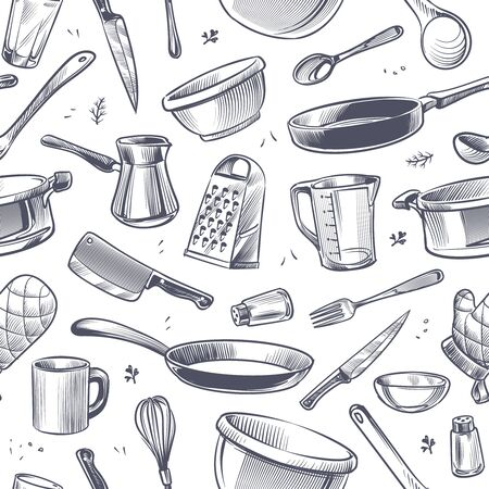 Cooking utensils seamless pattern. Sketch kitchen tool, kitchenware. Pan, knife and fork, grater chef utensils vector gastronomy texture or doodle wallpaper for restaurant product Иллюстрация