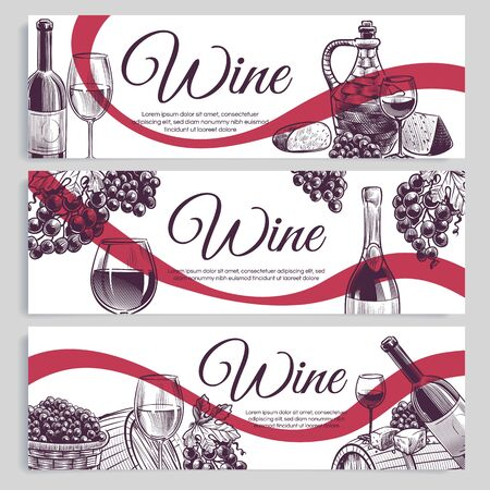 Sketch wine banners. Classic alcoholic drink bottles and wineglasses, grapes. Promotion winery and vineyard hand drawn labels vector decoracion restaurant card set