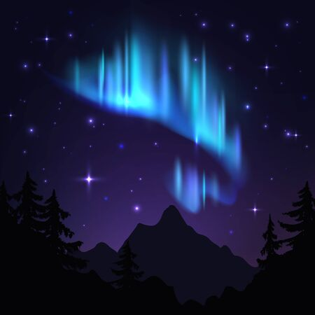 Northern lights. Isolated aurora borealis, bright stripes in night sky. Aurora blue vector winter radiance panorama with stars background