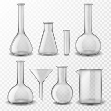 Chemical glass equipment. Laboratory glassware empty test tubes beaker and flask, medical lab experiment instruments 3d realistic vector pharmaceutical instrumentation for testing liquid set