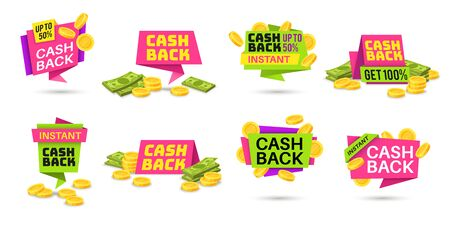 Cashback labels. Colorful cash back icons, money refund badges with coins and banknotes. Return money from shopping purchases vector retail sticker set