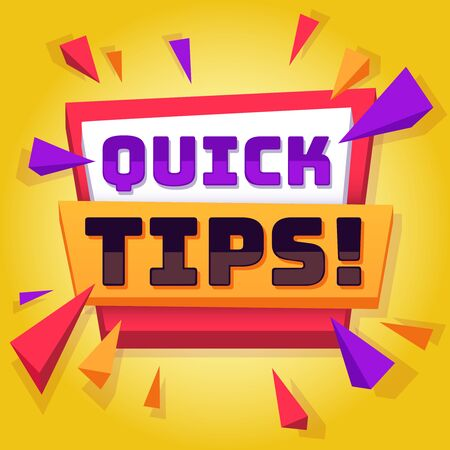 Quick tip. Useful tricks and advice blog post background, creative idea banner with text, best solution and information vector yellow badge concept