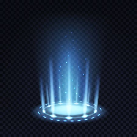 Portail magique. Effet de lumière réaliste avec faisceau bleu et particules incandescentes, entonnoir de téléportation futuriste vecteur 3d abstrait éclairage isolé plancher concept rond Vecteurs