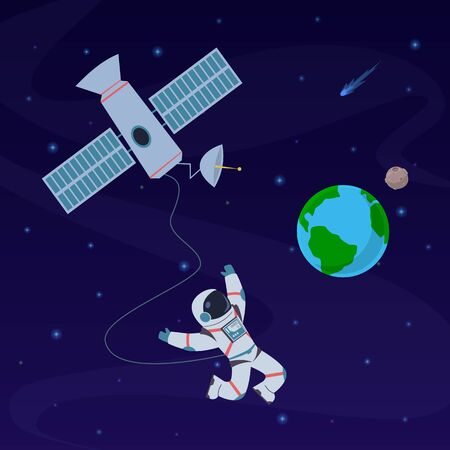 Earth with astronaut. Cosmonaut floating in stratosphere near earth planet, spaceship. Spacewalk explore at orbital station vector cosmos human satellite picture concept