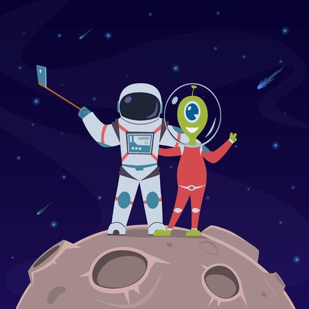 Astronaut and alien take selfie. Friendship between spaceman and alien humanoid on remote space planet cartoon vector childish universe adventure concept