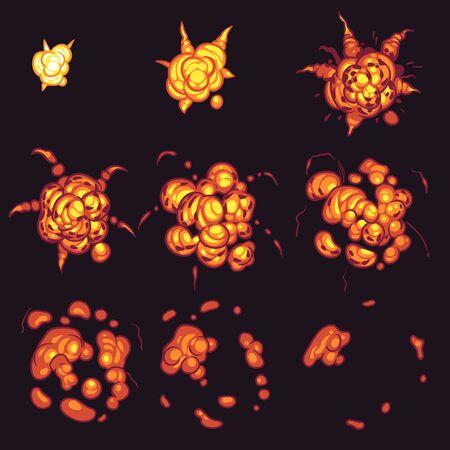 Explosion animation. Cartoon bang bomb flame frames, flash fire with smoke effect storyboard comics gaming bombing design vector boom energy creative set Иллюстрация