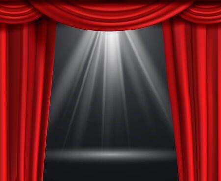 Sipario del teatro. Tende rosse di lusso in una scena di intrattenimento nero scuro con illuminazione notturna premium riflettori che premia lo sfondo della decorazione Vettoriali