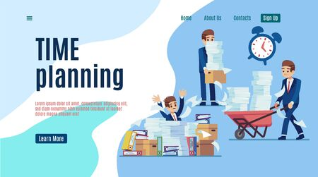 Time management landing. Stop unorganized work web page for effective business vector organizing of job technology concept