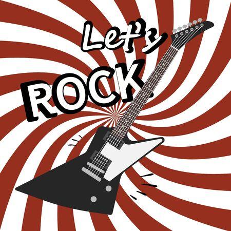 Rock guitar poster. Music promo flyer for live concert or musical festival vector vintage background
