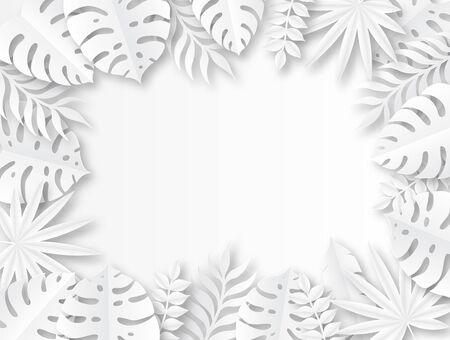 Paper tropical leaves. Origami exotic hawaiian wild jungle paper cut leaf, trendy foliage seasonal poster design vector seasons palm tropic background