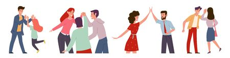 High five. Happy people informal greeting, group expressing friendship. Colleagues together meeting with friends vector cheerful giving hand gesture characters Ilustração