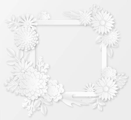 Paper flowers. White paper origami flowers creative composition bouquet, petals sakura ornament handmade, wedding floral template vector blossom shadow decor set Иллюстрация