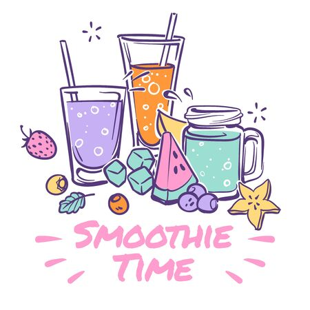 Smoothie background. Detox drink, summer cocktail with natural juices takeaway, healthy organic vegan nutrition, smoothies fruit fresh day vector recipe poster Иллюстрация
