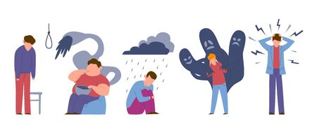 Problèmes de désordre. Tristes jeunes malades mentaux avec des émotions de personnalité addictives sentiment d'anxiété suicide vecteur ensemble de dépendance masculine