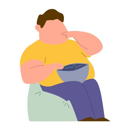 Eating addiction. Mental ill addict fat man sitting in chair and eating fast food color vector illeness addicted behavior concept Ilustracja