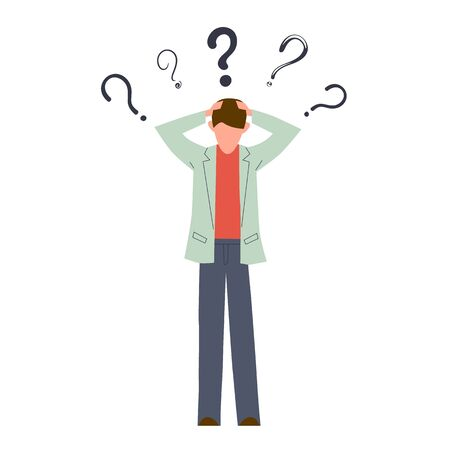 Confused man. Young serious creative person think about doubt troubled question vector thinking guy concept