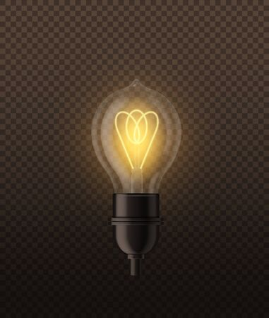 Realistic lightbulb. Electricity design light lamp bright yellow glowing on black dark background isolated vector lighting illustration