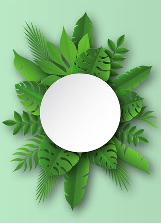 Paper tropical leaves. Papercut summer beach exotic pulm decoration vector palm leaf in cut round banner