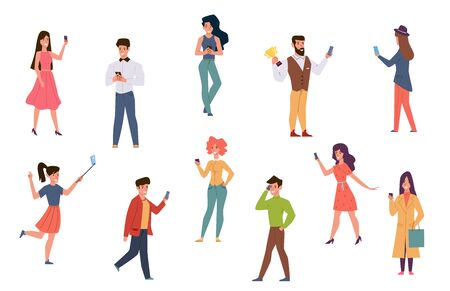 People with smartphones. Men and women talking on phone, checking social media texting. Catch wifi signal taking selfie cartoon characters using mobile technology vector
