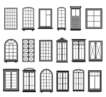 Window frames. Vintage framing windows, blank decorative glass frame construction. Black silhouettes vector abstract wooden architecture set Иллюстрация