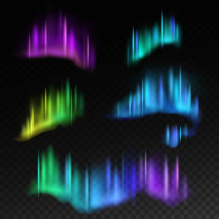 Northern lights. Isolated aurora borealis, bright stripes in night sky vector abstract swirl reflection northerly space set with gradients Иллюстрация