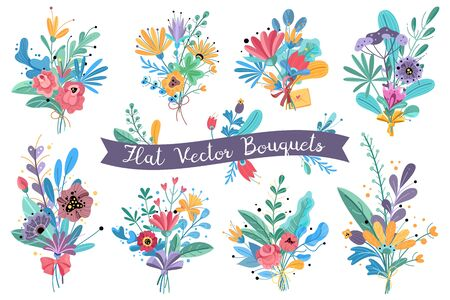 Bouquets. Garden blooming flowers, colorful floral bundle bouquets in vases. Bundle flower rose, mimosa and peonies, hortensia vector decorative wedding rustic romantic set