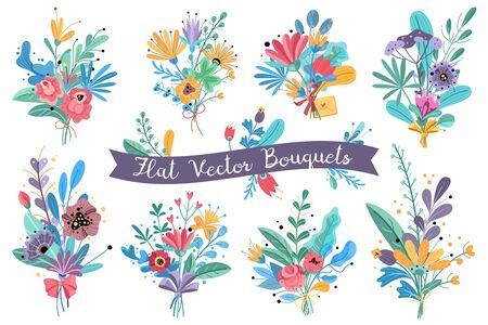 Bouquets. Garden blooming flowers, colorful floral bundle bouquets in vases. Bundle flower rose, mimosa and peonies, hortensia vector decorative wedding rustic romantic set Standard-Bild - 134851104