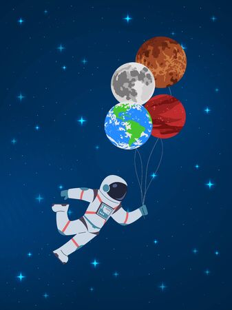 Cartoon cosmonaut with planets. Funny character astronaut holds in hand abstract sky planet balloons vector child cute journey sweet future card