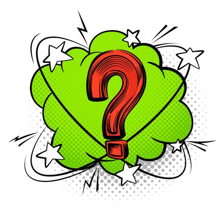 Question mark into speech bubble. Comic decorative color questioning sign vector creative discussion symbol with boom design icon