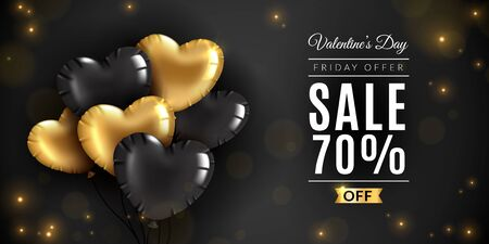 Valentines day sale. Romantic love, saint vincent date offer banner with 3d golden and black heart balloons. Greeting card vector promotion flyer mockup