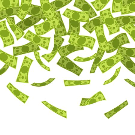 Money rain. Falling dollars banknotes, finances luck currency rain, flying cash. Jackpot win, income growth and wealth vector wealth concept
