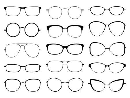 Sagoma di occhiali. Occhiali da sole con montatura alla moda, occhiali da vista di diverse forme, montature e cerchi alla moda set di lenti ottiche arrotondate vettoriali