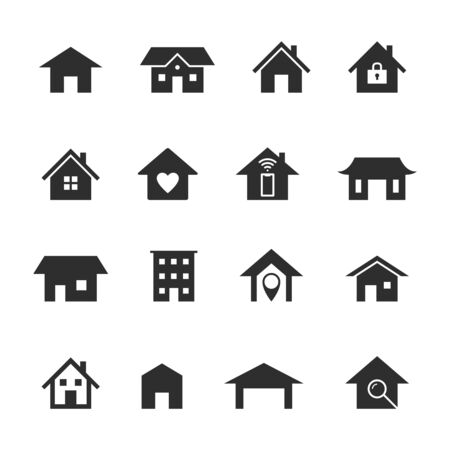 Home icons. Black houses silhouettes, smart home service. Web homepage buttons, security locations and residential insurance vector residency building symbols 向量圖像