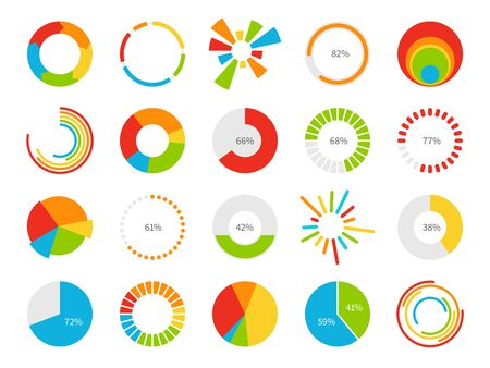 Pie charts. Graphic segmentation information circles, percentage statistic market, circular diagram for financial ui infographic vector charting slices graph set 向量圖像