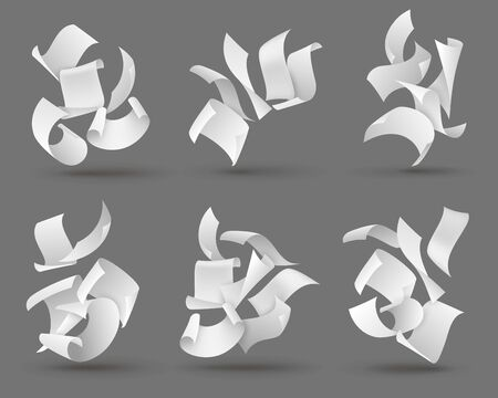 Falling paper sheets. White flying papers with curved corners. Blank document pages, chaotic paperwork. Fly scattered notes vector set of letters in air