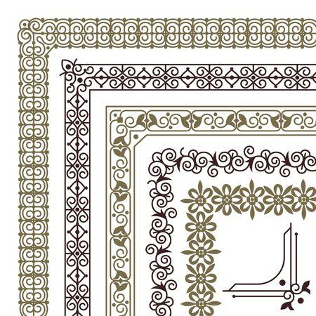 Seamless corners. Filigree flourish ornament borders for wedding card vintage tile frame vector pattern decorative geometric ornamentation set