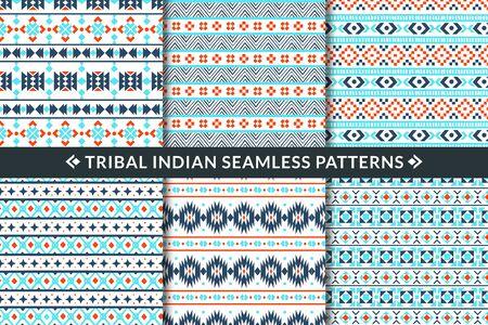 Modèles sans couture indiens tribaux. Formes géométriques d'ornement ethnique aztèque, maya et mexicain. Tissu textile à la mode, papier peint imprimé vecteur mosaïque décoration ethnique ensemble