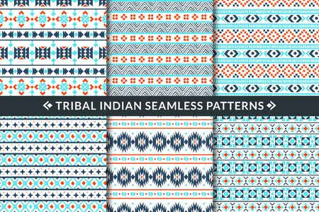 Tribal indian seamless patterns. Aztec, maya and mexican ethnic ornament geometric shapes. Trendy textile fabric, wallpaper print vector mosaic ethnical decoration set