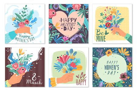 Valentines day bouquets. Mothers day holiday gift with flowers bunches, hands holding bouquets happy day romantic greeting vector spring floral frame cards Ilustração
